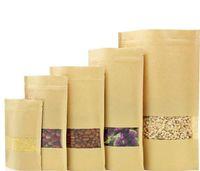14 dimensioni alimentari barriera borse barriera con ziplock imballaggio sigillatura sacchetto marrone kraft carta doypack sacchetto con finestra trasparente