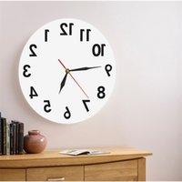 (إعلان) 1 قطعة عكس جدار الفن الزخرفية ساعة الحائط الخلفي الوقت ساعة المعاصرة ساعة الحائط التصميم الحديث ووتش هدية عيد T200601