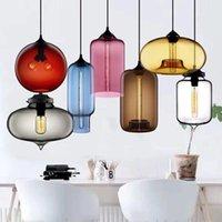 Modernes Restaurant Kronleuchter Licht Geblasenes Bunte Glas Lampenschirm Glas Decke Hängelampen Wohnzimmer Coffee Room Office