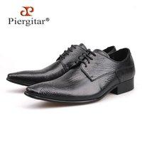 Piergitar 2020 Yeni Hakiki Deri Erkek Elbise Ayakkabı erkek Flats Örgün İş Ayakkabıları Gelinlik Derby Dantel-Up1