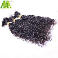 도매 - 8A 학년 물 파도 벌크 머리 처리되지 않은 인간의 꼰 머리카락 대량 벌크 물결 모양의 브라질 인간의 머리카락이 착탈증 없음