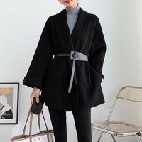Damska wełniana mieszanka podwójna kaszmirowa płaszcz 2021 wiosna styl zimowy czarny szczupły peleryny wełniany