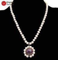 Collar colgante de perlas naturales de la moda de Qingmos para mujeres con 6-7 mm Pearl blanco 18 mm Púrpura Amatistas Collar Joyería NE6526