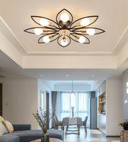 American Living Room Lámparas de techo Moderno Minimalista Iron Chandelier Lights Creative Comedor Lámpara Lámpara de techo