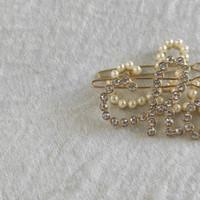 Pinces à cheveux métalliques C classique strass ou perles de lettres design cépages de cheveux classiques accessoires de cheveux