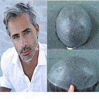 Super dünne Haut Herren Toupee graue haar ultra volle pu v schlaufe toupee haireinstellung für männer ersatzsystem menschliches haar 8x10inch männer haare