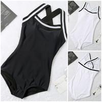 Kadınlar Siyah Beyaz Tek Parça Mayo Bikini Seti Push Upswimsuit Mayo Yüzme Suit