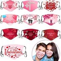EUA Dia dos Namorados Personalizado Adulto Face Masks Algodão Powerproof 3D Imprime Respirator Lavável Rreveable Insert PM2.5 Filtros Festas Máscaras