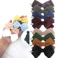 Accesorios para el cabello 4 PCS Tela de algodón dulce Llantas de lazo Baby Girl's Boutique Bows Barrettes Hairbow Hairgrips