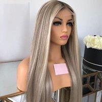 Ombre graue Highlights 60 # blonde 13x4 spitze vorne menschliche haarperücken für frauen gerade volle spitze perücke menschliche haarperücken