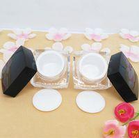 100 unids 10 gramos mini contenedor cosmético, cubierta de acrílico negro pequeño cuadrado 10g Pequeños frascos, pequeños frascos de plástico con tapas al por mayor