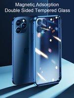 360 حالات معدنية المغناطيسي لامتصاص آيفون 12 ميني 11 برو XR X XS كحد أقصى غطاء زجاجي على الوجهين على سامسونج