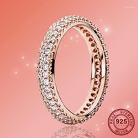 925 Sterling Silver Pan Ring Rose Gold Source Of Inspiration With Crystal Cz Pan Ring For Women Wedding Party Fashion Jewelry1