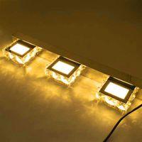 Yeni Tasarım 9 W ZC001209 Üç Işıklar Kristal Yüzey Banyo Yatak Odası Lamba Sıcak Beyaz Işık Gümüş Süper Parlaklık Su Geçirmez Duvar Lambaları