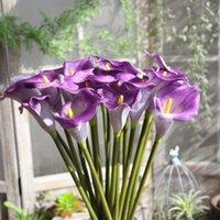 Dekoratif Çiçekler Çelenkler 10 adet Yapay PU Gerçek Dokunmatik Iki Renkler Büyük Calla Lily Düğün Ev Masa Noel Dekorasyon