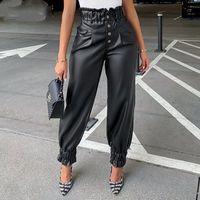 PU Couro Long calça Mulheres Calças Ruffle Alto Cintura Botão Up Lápis Calças Elegante Feminino Inverno Preto Calças Casuais Streetwear