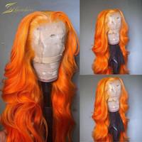 Onda de cuerpo naranja coloreado pelucas humanas para mujeres negras hd transparente jengibre 13x6 encaje frente peluca frontal frontal pre arrollada remy Remy