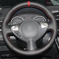 Hand Nähauto-Lenkrad-Cover Red Marker für Infiniti FX FX35 FX37 FX50 Nissan Juke Maxima 2009-2014 Sentra 2016 2017