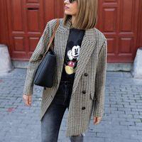 Puwd Vintage Frau Lose Plaid Blazer Mantel 2021 Frühlingsmode Damen Übergroße Button Outwear Weibliche Elegante Streetwear Jacken