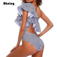 Traje de baño de las mujeres Bkning XXL Rayado One Piece Large Women Verano 2021 Monokini Puls Tamaño Tamaño Traje de baño Ruffle Onepiece Traje de baño 1 Trikini1