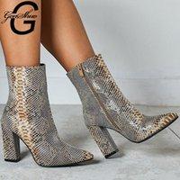 Bottes Genshuo Imprimer Snake PU Femme Femme Cheville Zip pointue Toe chaussures épaisses talons hauts féminins féminin chaussures 2021 hiver