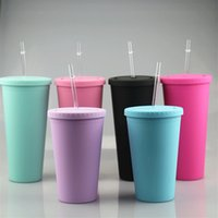 16oz fosco acrílico tumblers com peitas coloridas palhas coloridas Curto gordura de plástico esportes garrafas de água dupla parede água potável copos A12