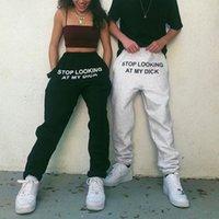 Pantaloni di sudore di Houzhou Lettera Lettera Stop Guardando il mio Dick Sweatspants Donne Joggers Dropshipping Hip Hop Black High Vita Pantaloni a vita alta 201112