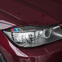 ألياف الكربون المصابيح الأمامية الحواجب جفن ملصقات السيارات ل bmw e90 الأمامي الأمامي 3 سلسلة 2005-2012 ملصقا صائق
