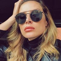 Lunettes de soleil Noir Ronde Vintage Femmes Men Marque Double Pont Double Pont Sun Lunettes Femme 2021 Mode Eyewear Outfoor Uv400