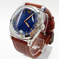 Montre homme 47mm Manuel Up Chain Mouvement Mécanique Mécanique Numéro de luxe Cadre polie 316L Cas de haute qualité Bracelet en cuir marron