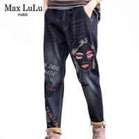 Max lulu 2019 mode coréenne dames punk punk denim pantalon femme broderie fourrure chaude jeans vintage harem pantalon plus grande taille