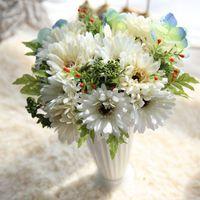 Couronnes de fleurs décoratives Vente artificielle gerbera fleur bouquet simulation Sun Bunch Mariage Meuf de mariage Décoration