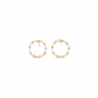 Creative Waves Circle Design Stud Earrings Trendy Round styl...