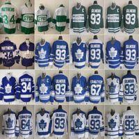 Vintage Toronto Maple Leafs 93 Doug Gilmour Hóquei Jerseys 34 Auston Matthews 64 Stanleycup 67 Stanley Cup Mens Classic 75th Aniversário