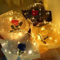 LED Light Luminous Balloon Rose Bouquet Transparent Bubble Rose Flashing Light Bobo Ball for Valentines Day Birthday Wedding Decor E121802