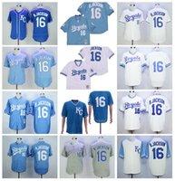 Retro Baseball 16 BO Jackson Jersey 1974 1980 1985 1987 Vintage Retirne Männer Pullover FlexBase coole Basis Nähte Blau Weiß Grau Team Farbe