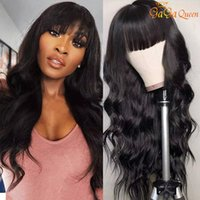 Body Wave Human Hair Wigs With Bangs Malaysian Remy Human Ha...