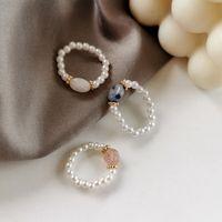 Elegante simulierte Pearl-Perle-Stein-elastische Ringe für Frauen Midi Finger Knuckle Ring Mode Vintage einstellbare Schmuckgeschenke