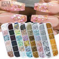 Holografik Tırnak Glitter Flakes Pullu 12 Adet 1 Gül Altın Gümüş DIY Kelebek Daldırma Tozu Akrilik Çivi Araçları için CH1585