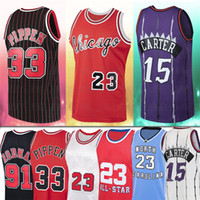 NCAA 23 Rodman Jersey Carter MJ 15 Vince 91 Dennis 33 Scottie Men Pippen 1995 1996 Red Basketball Jerseys