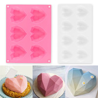 6 8Cavity Diamond Love Heart- Shaped Silicone Molds for Spong...