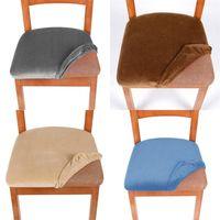 Chaise lavable amovible Couvre chaises de salle à manger du velours de ménage Coussin élastique Spandex Spandex Spandex Couvercle de siège anti-poussière Maison 7ZF M2