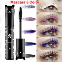 TeyaSon ماكياج اللون ماسكارا 6 ألوان الحلو القط الملونة ماسكارا الرموش تمديد حجم سميكة حليقة ماسكارا للماء طويلة الأمد