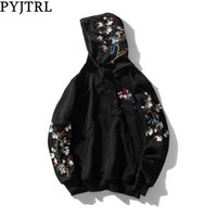 PYJTRL Men Fashion Autumn Chinese Style Embroidery Loose Hoodies Streetwear Hip Hop Sweatshirts Sweat Homme Clothing Y1109