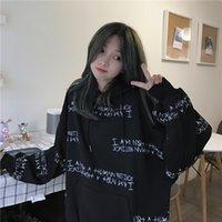 Ulzzang autunno inverno donna felpa da donna Harajuku lettera stampa felpa con cappuccio felpa allentata a maniche lunghe pullover felyshirt 201029