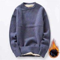 각각 코튼 니트 스웨터 남자 가을 겨울 패션 솔리드 양모 라이너 풀오버 망 O 넥 두꺼운 대형 스웨터 201212