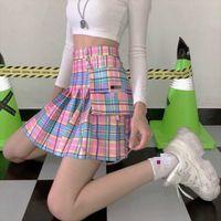 Verano 2020 Harajuku Kawaii Punk Damas Faldas de cintura alta Plaid Plaid Pleated Mini Falda de bolsillo corto Faldas MUJER PLUS TAMAÑO 4XL J0118