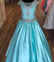 Aqua satin Pageant robe pour les ados Juniors enfant en bas âge 2021 Pierres AB Cristal long Pageant robe de petite fille à mancherons Parti formel rosie