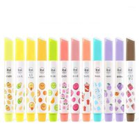 6 Color Set Creative Triangle Fluorescent Highlighter Pen Hand Account Drawing Pen Marcador Child Gift Office&School Supplies1