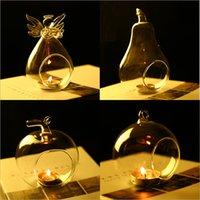 Soporte de vela de cristal de cristal candelabro casero boda fiesta cena decoración redondo vidrio aire planta burbuja cristal bolas yhm195